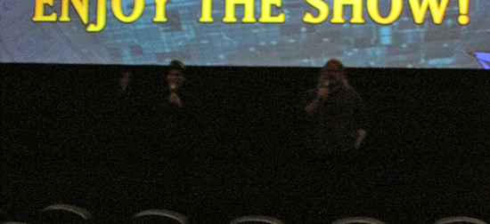 Eric Stuart and Dan Green warming up the audience at the Yu-Gi-Oh! The Dark Side of Dimensions U.S. premiere screening