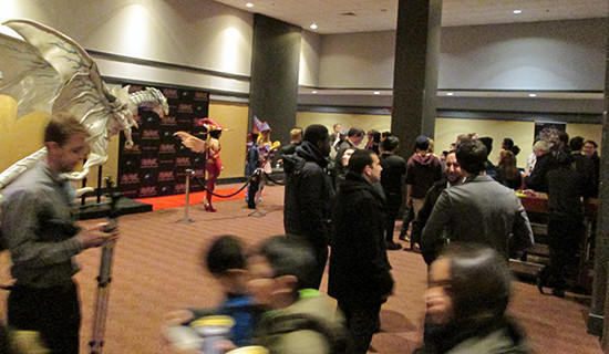Guests gathering in the hallway at the Yu-Gi-Oh! The Dark Side of Dimensions U.S. premiere screening