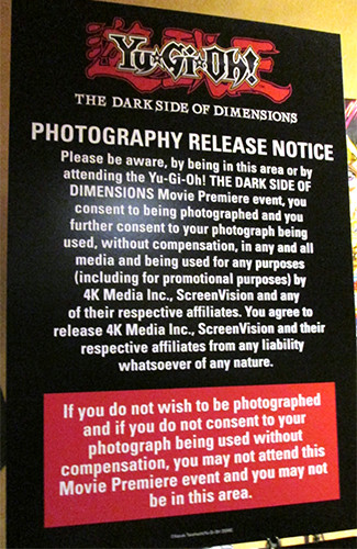 Photography release notice at the Yu-Gi-Oh! The Dark Side of Dimensions U.S. premiere screening