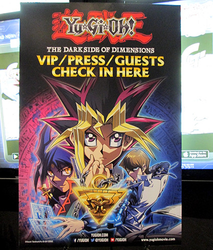 Check-in sign at the Yu-Gi-Oh! The Dark Side of Dimensions U.S. premiere screening
