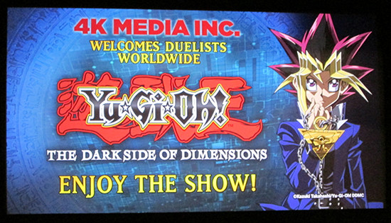 Welcome screen at the Yu-Gi-Oh! The Dark Side of Dimensions U.S. premiere screening