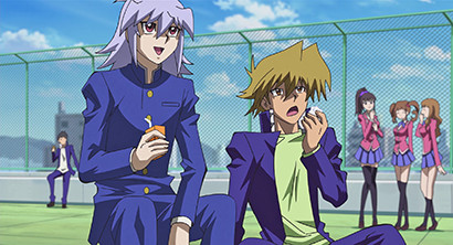 Bakura and Joey eating lunch in Yu-Gi-Oh! The Dark Side of Dimensions