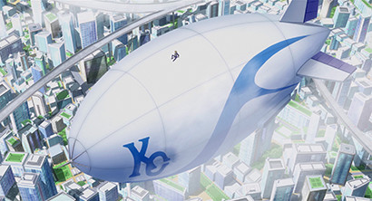 Joey sitting on top of Kaiba's blimp in Yu-Gi-Oh! The Dark Side of Dimensions