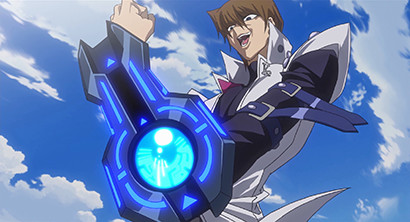 Kaiba flaunting his new Duel Disk in Yu-Gi-Oh! The Dark Side of Dimensions