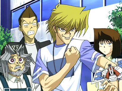 Joey challenging Kaiba to a duel while Grandpa, Tristan, and Tea look on in episode 66