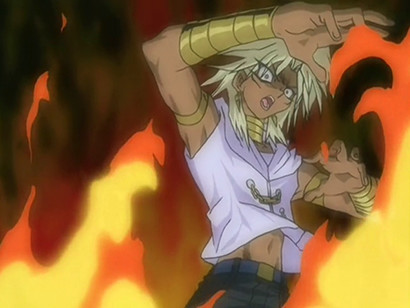 Marik being engulfed in flames in Ishizu's dream in episode 97