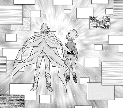 Sora Shiunin and Ren monitoring for signs of Yuya Sakaki and Reiji Akaba in Yu-Gi-Oh! ARC-V manga chapter 19