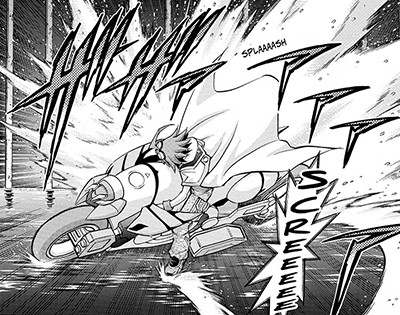 Yuya Sakaki bringing his Duel Runner to a screeching halt in Yu-Gi-Oh! ARC-V manga chapter 19