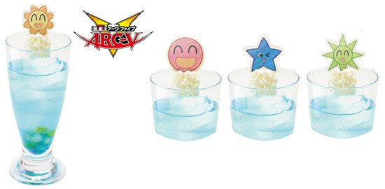 Yu-Gi-Oh! ARC-V Smile World drink and wafer designs at the Yu-Gi-Oh! Animate Cafe
