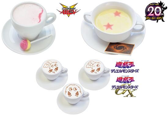 Sora Shiunin's hot milk, corn soup, and Kuriboh latte at the Yu-Gi-Oh! Animate Cafe