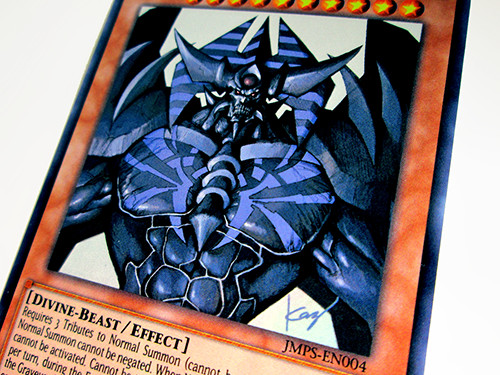 Close-up of the Yu-Gi-Oh! TCG Obelisk the Tormentor card included with the Weekly Shonen Jump Spring 2017 Jump Pack