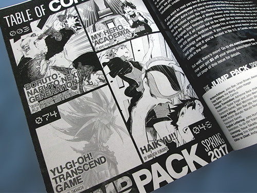 Table of Contents of the Weekly Shonen Jump Spring 2017 Jump Pack