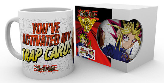You've Activated My Trap Card mug and box mock-up from GB eye