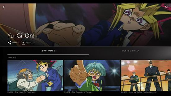 Screenshot of the Yu-Gi-Oh! anime on the STARZ app