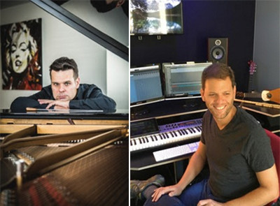 Photos of Yu-Gi-Oh! composers Elik Álvarez and Freddy Sheinfeld