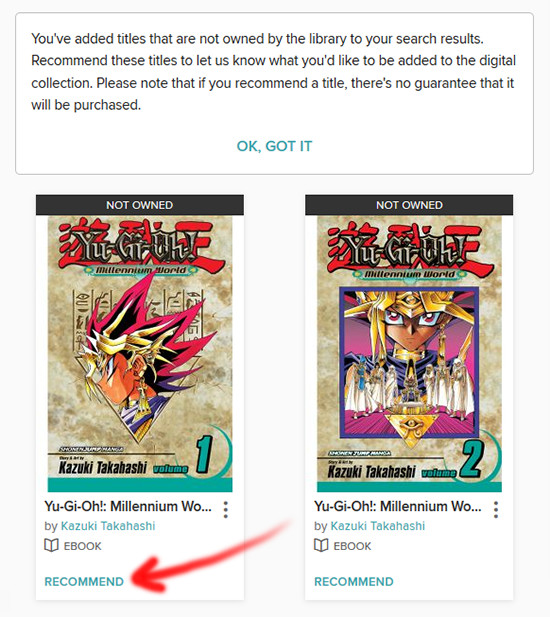 Unavailable Yu-Gi-Oh! Millennium World books in the OverDrive search results