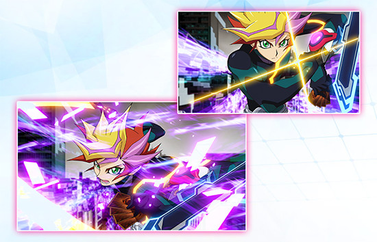 Two shots of Yusaku Fujiki's alter ego Playmaker in Yu-Gi-Oh! VRAINS