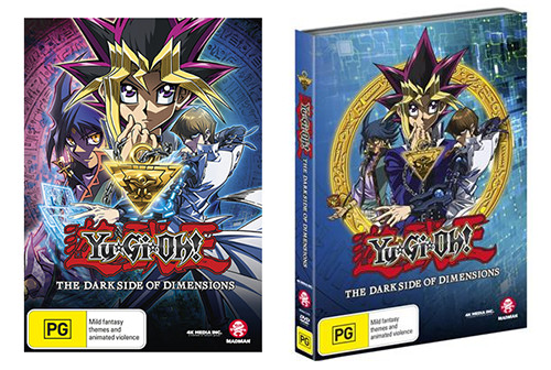 Cover mock-ups of Madman's Yu-Gi-Oh! The Dark Side of Dimensions DVD and the JB Hi-Fi exclusive version