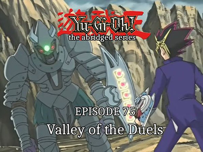 Yami Yugi facing off against Orichalcos Soldier in YGOTAS episode 75