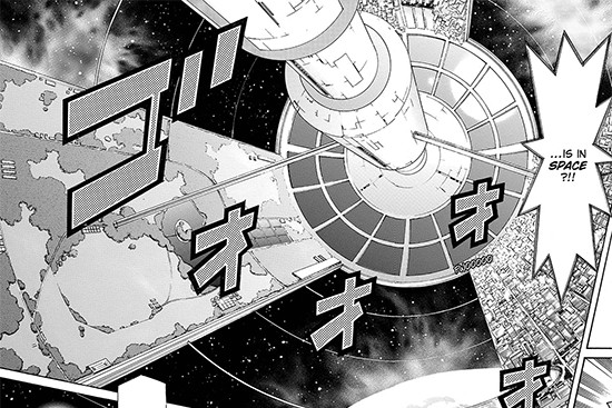 Leo Corporation's space research facilities in Yu-Gi-Oh! ARC-V manga chapter 24