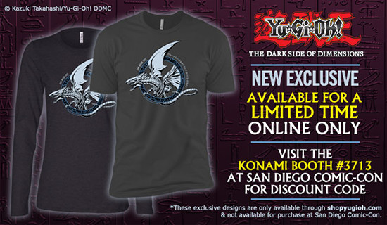 ShopYuGiOh.com ad showing the new Blue-Eyes Alternative White Dragon shirt design