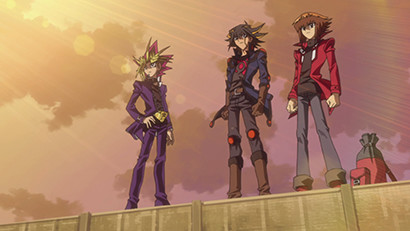 Yugi, Yusei, and Jaden admiring the sunset in Yu-Gi-Oh! Bonds Beyond Time