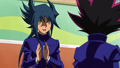 Aigami clapping after Anzu bowls a strike in Yu-Gi-Oh! The Dark Side of Dimensions