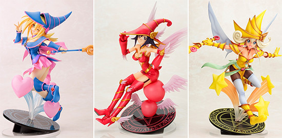 Kotobukiya's Yu-Gi-Oh! The Dark Side of Dimensions Dark Magician Girl, Apple Magician Girl, and Lemon Magician Girl figures