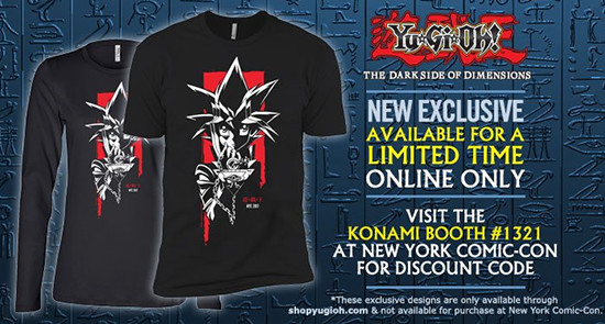 ShopYuGiOh.com ad showing the Yugi Muto 2017 NYCC shirt design