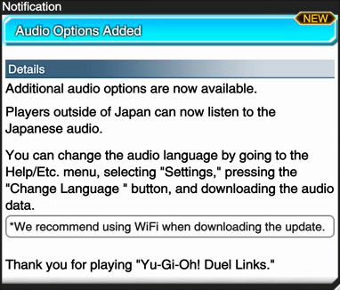 Announcement of the Japanese audio option on Yu-Gi-Oh! Duel Links