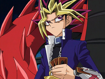 Yugi getting annoyed when Kaiba lectures him during their duel in episode 130