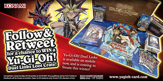 Konami UK's Yu-Gi-Oh! Duel Links loot crate giveaway