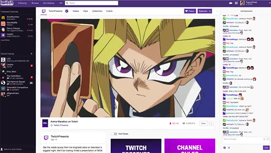 Screenshot from Twitch's Yu-Gi-Oh! marathon advertisement