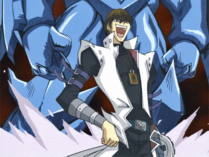 Kaiba laughing after Obelisk destroys his enemies in episode 68