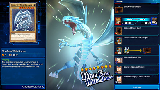 Blue-Eyes White Dragon summoned in Yu-Gi-Oh! Duel Links, PC Steam version