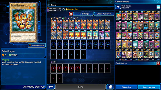 Deck editing mode in Yu-Gi-Oh! Duel Links, PC Steam version