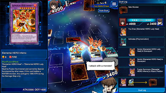 Screenshot of a duel in Yu-Gi-Oh! Duel Links, PC Steam version