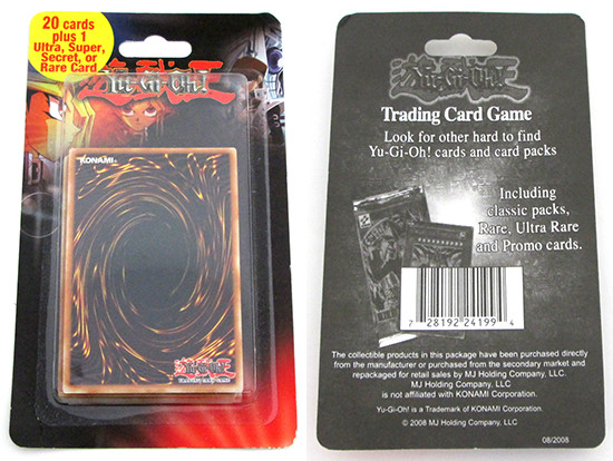 Front and back of the Yu-Gi-Oh! TCG mystery pack by MJ Holding Company