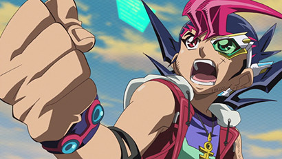 Yuma Tsukumo pumping his fist as he destroys a monster in episode 145