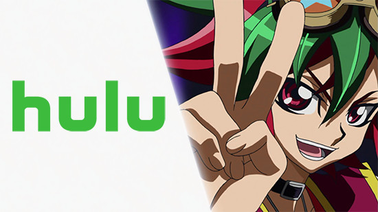 Hulu logo and Yuya Sakaki giving the V hand sign in ARC-V episode 14