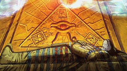 Anubis' sarcophagus receiving life force in Yu-Gi-Oh! The Movie: Pyramid of Light
