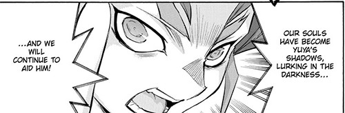 Yuri proclaiming that he and Yuya's other counterparts will always be there to help him in Yu-Gi-Oh! ARC-V manga chapter 31