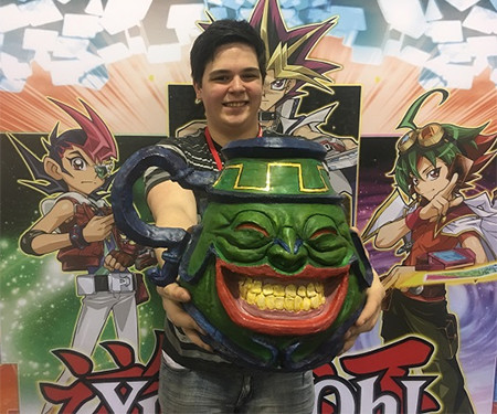 Dimitrius Scameheorn holding his Pot of Greed clay sculpture at YCS Atlanta, February 2018