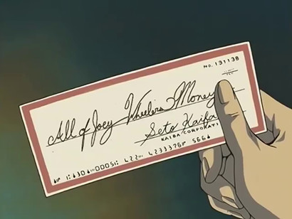Kaiba's check worth All of Joey Wheeler's Money in YGOTAS episode 79