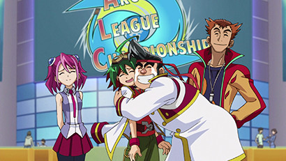 Gong hugging Yuya enthusiastically in Yu-Gi-Oh! ARC-V episode 38