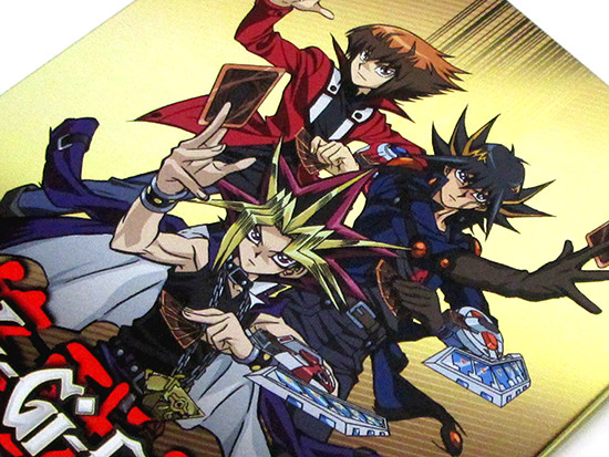 Jaden, Yusei, and Yugi on the front cover of Cinedigm's Yu-Gi-Oh! Bonds Beyond Time SteelBook