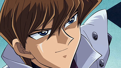 Seto Kaiba looking upward and smiling in Yu-Gi-Oh! The Movie: Pyramid of Light