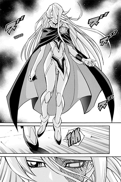Eve emerging in front of Yuya in Yu-Gi-Oh! ARC-V manga chapter 33
