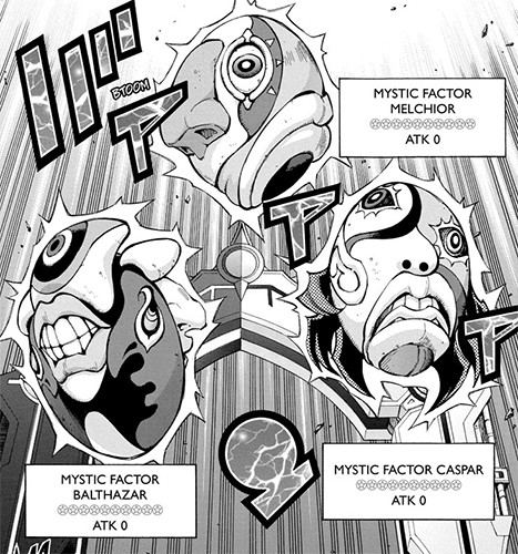 Eve's Mystic Factor Melchior, Caspar, and Balthazar monsters in Yu-Gi-Oh! ARC-V manga chapter 33