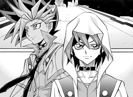 Yuya and Yuto arriving in Eve's domain in Yu-Gi-Oh! ARC-V manga chapter 33